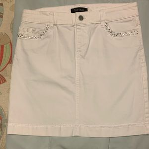 White House Black Market -  White Jean Mini Skirt